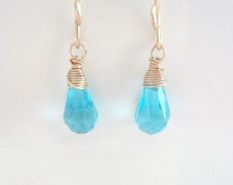 Aquamarine Teardrop Crystals, Wire Wrapped Earrings, Gold Filled, Weddings, Bridal, Bridesmaids, Handmade Jewelry, Jewellery
