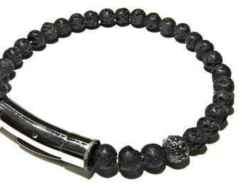 Molten. Mens bracelet. 6mm Lava Rock and Black Bali bead bracelet.