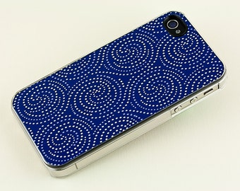 Cobalt blue iPhone Case, Geometric Starlight Swirl, Retro style plastic  iPhone 4 5 6 Cover, iPhone Accessory, Cell Phone Case