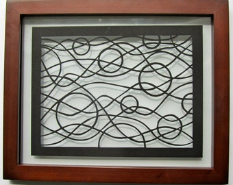 Circles and Waves Paper Cut Valentine's Gift Wall Art, Home Décor, in Black ORIGINAL Design SIGNED Hand Cut Handmade FRAMED One Of A Kind