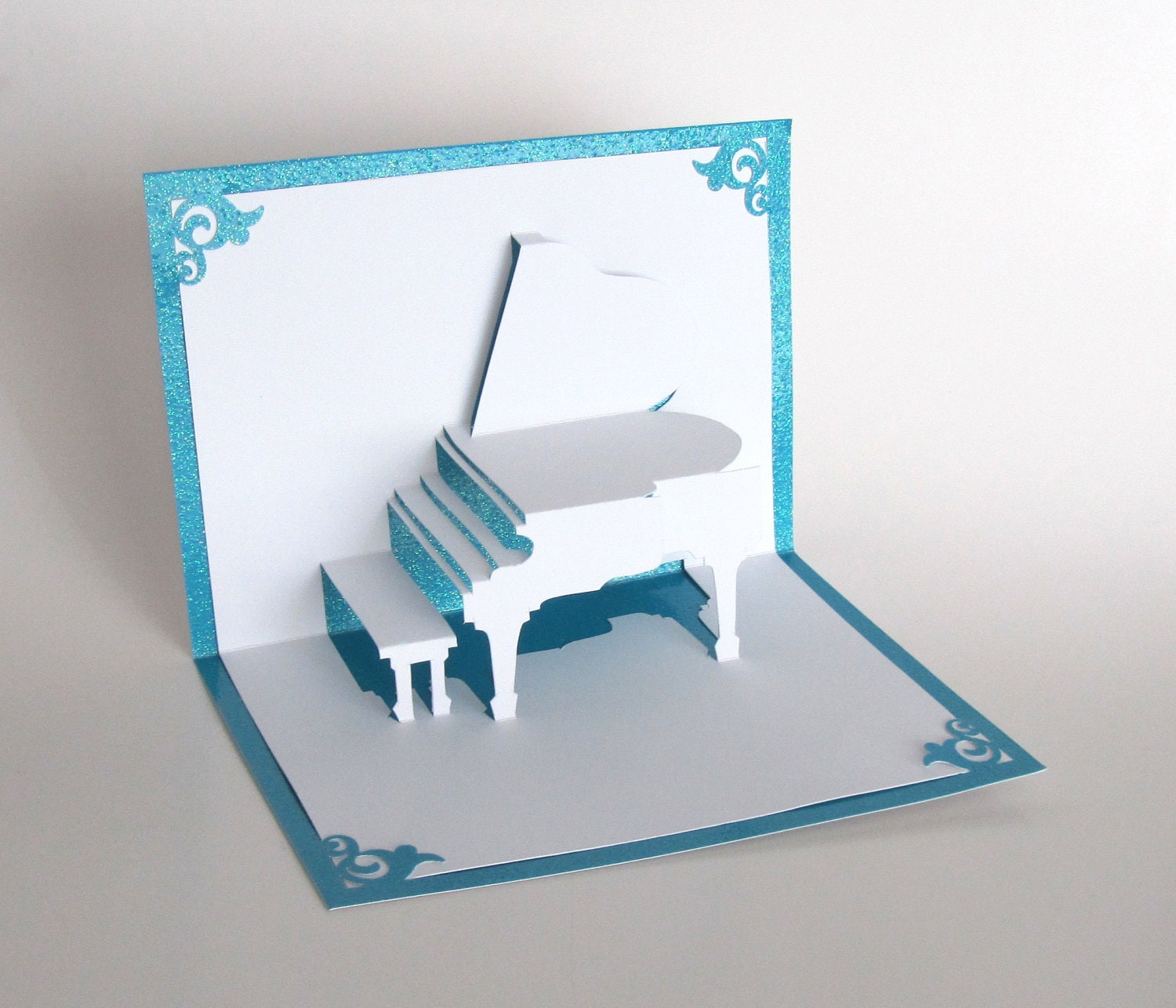 GRAND PIANO 3D PopUp Greeting Card Handmade Cut by Hand – Make a Pop Up Birthday Card