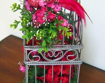 Red Bird Cage Floral Arrangement