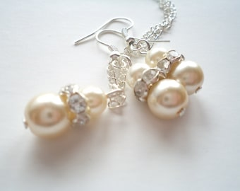 SET of 7 Bridesmaids Gift, Ivory Glass Pearl Necklace and Earrings Set,