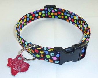 Multi Colored Dots - Dog Collar - Adjustable