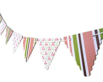Girl's Nursery Banner, Flowers and Stripes, Double Sided Bunting, Long Bunting Banner, Feminine Party Streamer, Photo Prop Garland