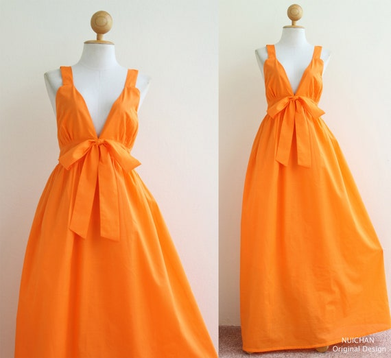 Orange Cocktail Bridesmaid Summer Dress : Love Party