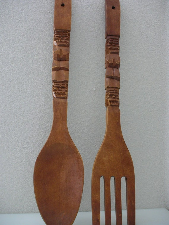 Large Carved Wooden Spoon And Fork By Thebackofthebasement