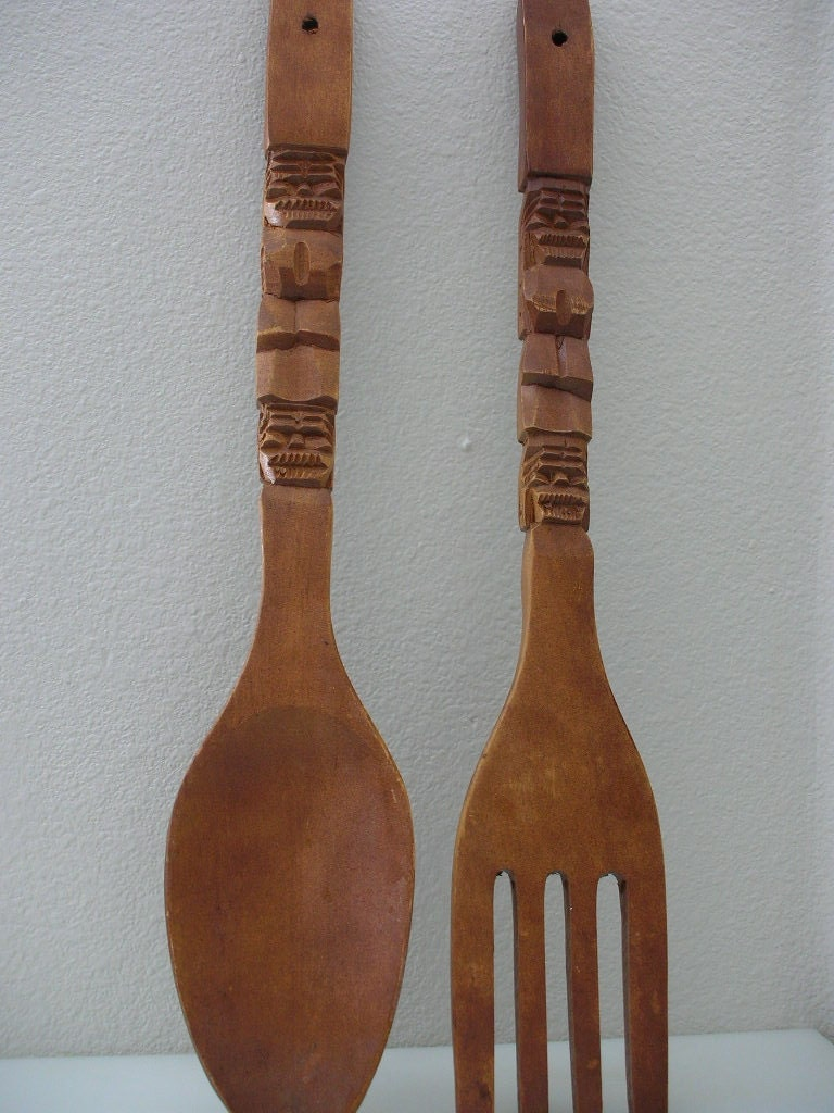 large carved wooden spoon and fork oversized 22 inch tiki. Black Bedroom Furniture Sets. Home Design Ideas