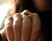 diamond mirror gold ring