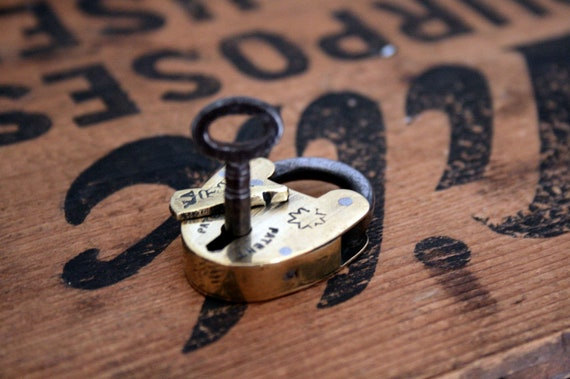 lovely vintage brass heart lock and key