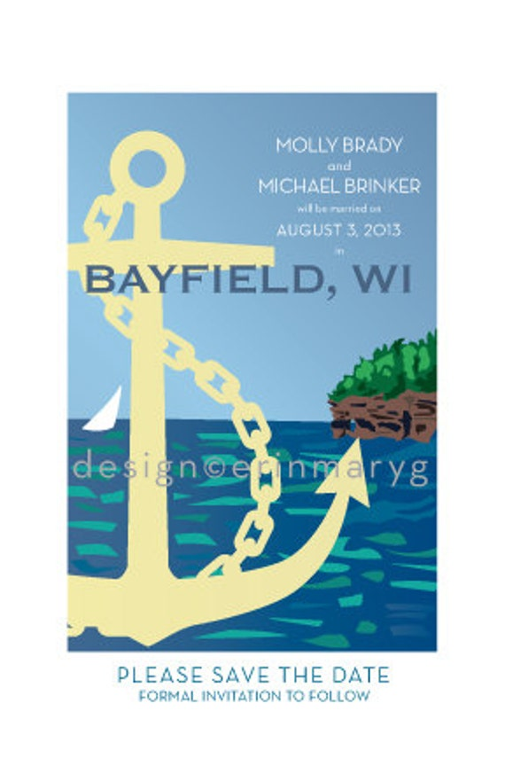 Custom SET, WISCONSIN Wedding guestbook poster and save date card pdf package