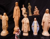 Vintage Religious Statues including Jesus and Mary