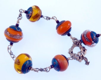 Beaded Lampwork Bracelet - ' Indian Summer'