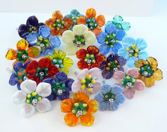 Push pins  Bead Flowers Pair - Fun Flower Push Pins - BEST SELLER