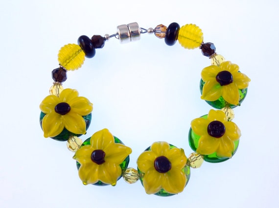 Summer Sale  Lampwork Bead Bracelet - ' Good Day, Sunshine'