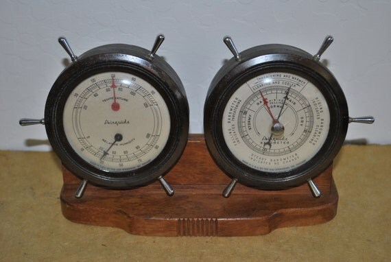 Vintage 1960s Airguide Nautical Thermometer and Barometer