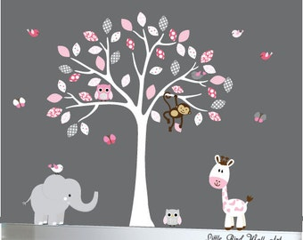 Baby white tree wall decal jungle wall art owl wall decal - 093