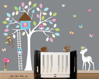 Nursery Decals,Wall decals for Nursery, Treehouse Decal Mural, Baby Wall Decor, Nursery Decals, Woodland Nursery Art,