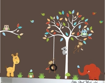 Children wall decals jungle safari tree wall decal vinyl decal tree wall multi-colors
