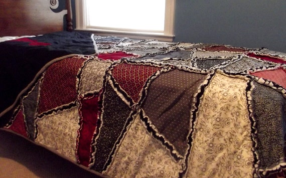 autumn crazy rag quilt, urban country, extra long twin quilt, grey, black, white, dark red