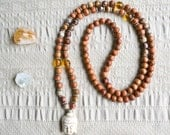 Deal of the Day - Bayong Wood and Rhyolite Mala Beads, Yoga Mala Beads, Mala Necklace
