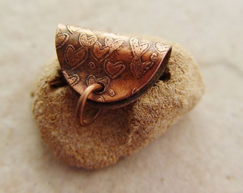 "Etched Copper Pendant Bail, .875"" x .5"", Hearts"