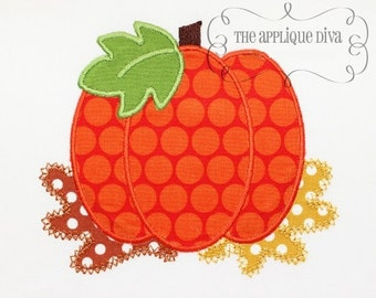 Fall Thanksgiving Pumpkin in Leaves Digital Embroidery Design Machine Applique