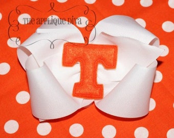 Letter T  Hair Bow Center Digital Embroidery Machine Applique Design