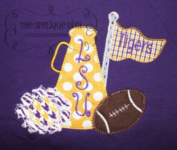 Fall Cheer with Football Embroidery Design Machine Applique