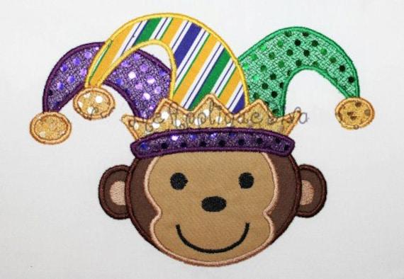 mardi gras monkey embroidery design machine applique. Black Bedroom Furniture Sets. Home Design Ideas