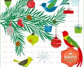 Instant Downloads, Digital Christmas Ornaments Birds Tree Branch Cliparts, Personal and Small Commercial Use. BP 0722