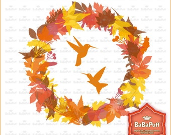 Digital Autumn Fall Wreath, Circle Frame, Birds, Wedding Invitations Cards Making, Scrapbooking, Personal and Small Commercial Use. BP 0692