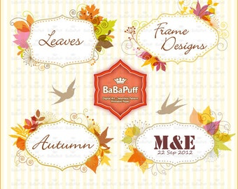 Digital Fall Leaf Frames Set 1, For Invitations Cards Making, Clip Art for Personal and Small Commercial Use. BP 0693