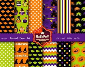 Instant Downloads, 12 Halloween Digital Papers, Print Papers at Home DIY for Handmade Projects, Personal and Small Commercial Use. BP 0705