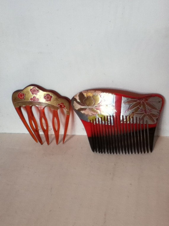 vintage art deco hair combs hand painted red brown hair accessory asian style gold