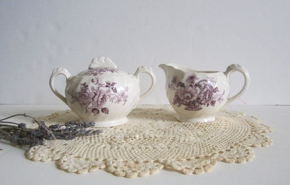 VALENTINE'S DAY SALE - Vintage Clarice Cliff Royal Staffordshire Cream and Sugar Lavender Transferware