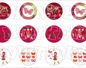 Made to Match Gymboree M2MG Butterfly Girl bottlecap image sheet