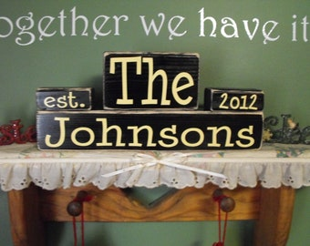 Personalized Established Family Name  Block Set Wood Sign Wedding Anniverysary