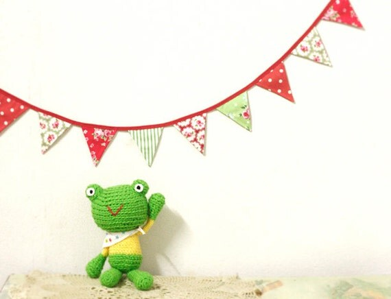 Crocheted Amigurumi Frog - Lime Green/Neon Green Frog in Yellow top and Star scarf