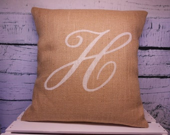 Monogram burlap pillow cover - initial - personalized - Pillow Insert Sold Separately