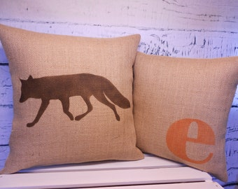 Fox and monogram initial - burlap pillows - set of 2 - perfect for a rustic woodland nursery