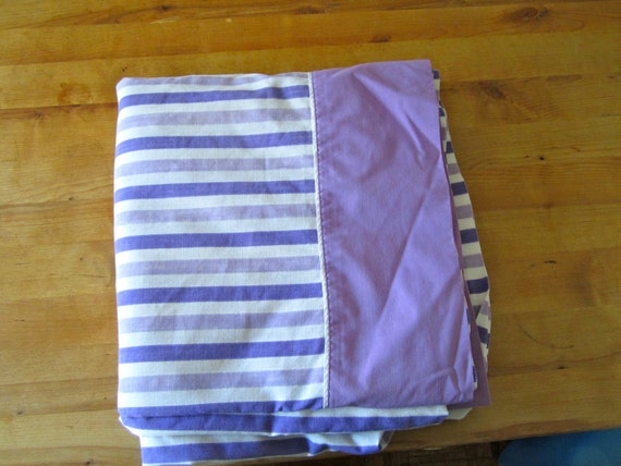 A Vintage King Sized Purple and White Striped Sheet