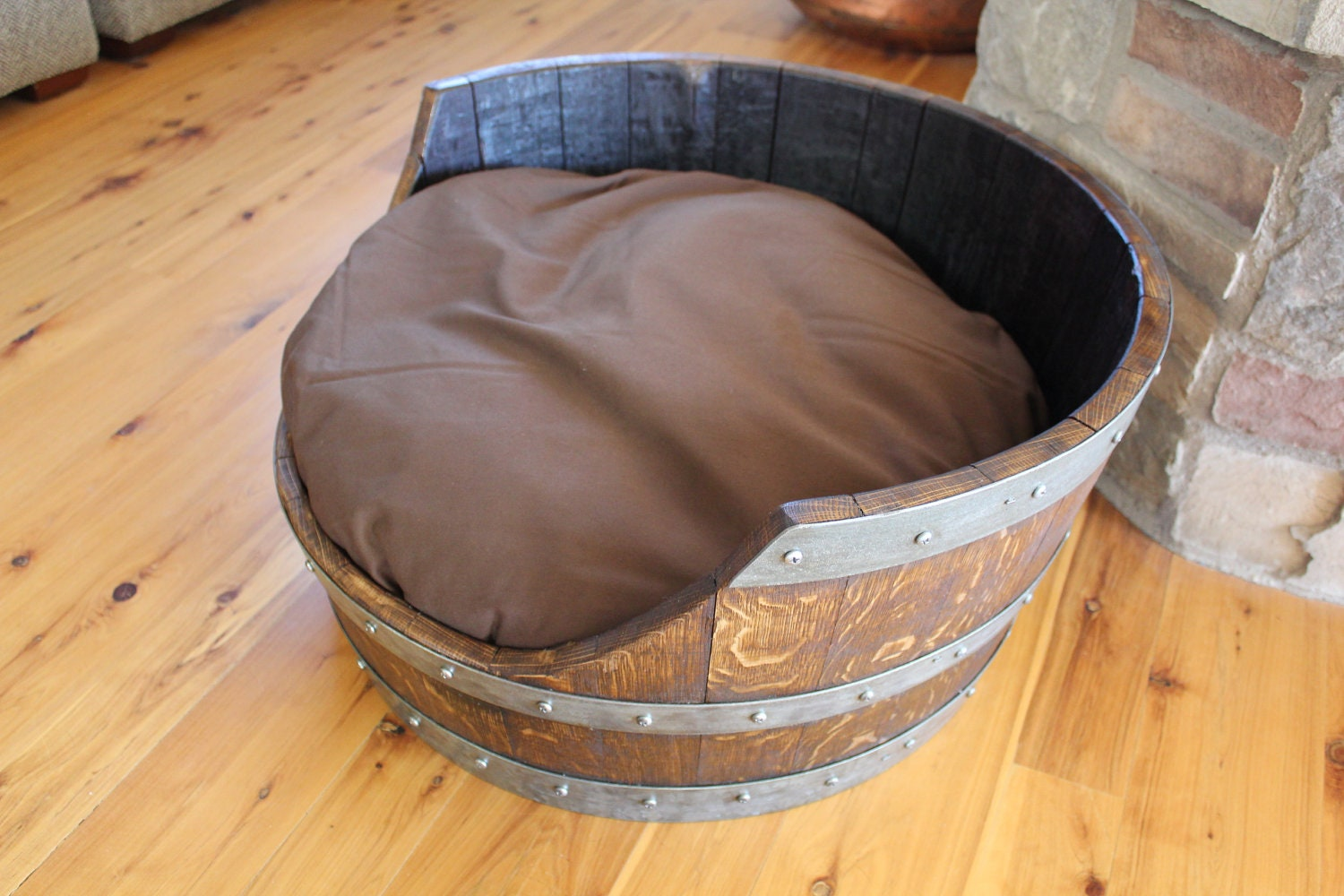 Dog Bed Made From Wine Barrel