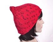 Red Gnome Hat  Crochet Mens Hat Peaked Beanie Silk Merino Cashmere XL Women Hat