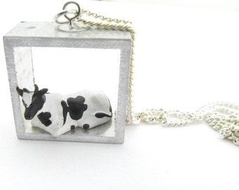 Cow Diorama Necklace Cattle Miniblings Miniature Farm Farmer