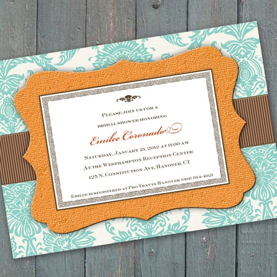 bridal shower invitations, aqua chocolate bridal shower invitations, aqua chocolate wedding shower invitations, aqua chocolate party