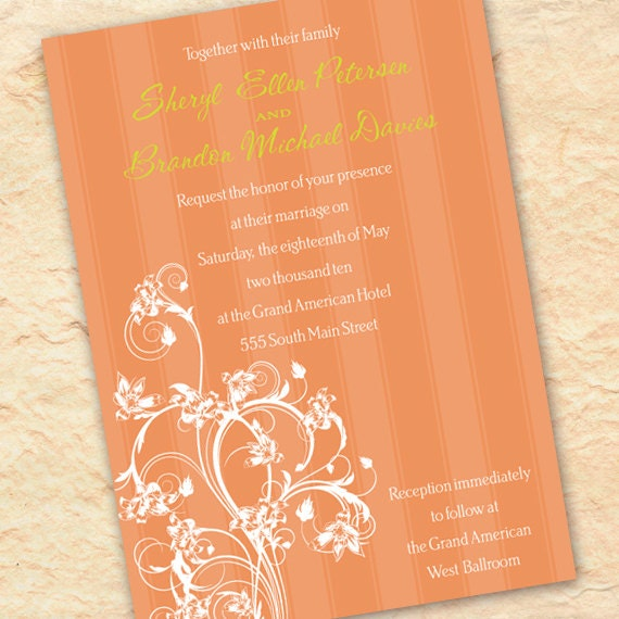bridal shower invitations, birthday party, tangerine wedding invitations, tangerine tango graduation, peach bridal shower invitation