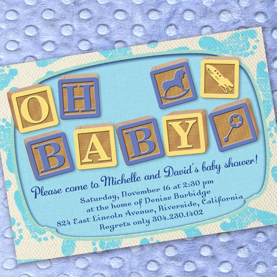 baby shower invitations, blue and yellow baby shower invitations, blue footprint baby announcements, baby feet party invitations