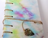 Tie Dye and Hemp Journal with Handmade Recycled Paper