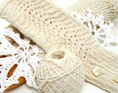 Fingerless Gloves 'Creamy' natural colors, neutrals, cream, ecru, ivory stretch cotton MADE TO ORDER